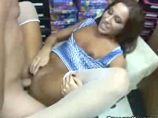 super mature babe fucked into a shoe store