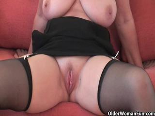 impressive grandma inside pantyhose exposes her
