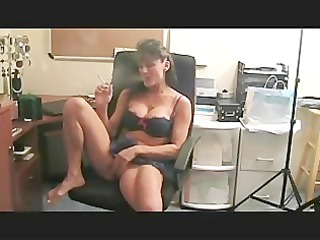 beautiful girl smokes and plays with her kitty