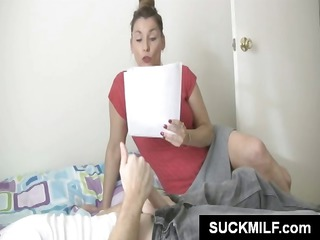 brunette milf watches him jack off and then sucks