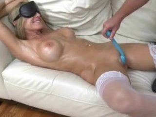 barbie sweetheart milf is blindfolded, rubbed and