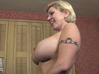 busty mom enjoys gang bang game