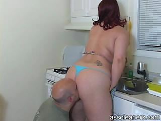 lover licks her wife`s big chubby ass as his lady
