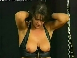 stunning lady slave is spanked and got large