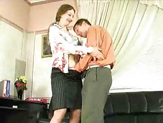horny mature lady have sex into office