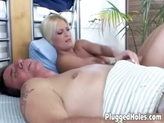 charming milf pleases with a large glass sex