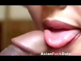asian amateur babe drinking sperm