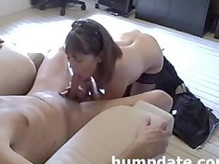 sweet woman gives pretty cock licking and handjob
