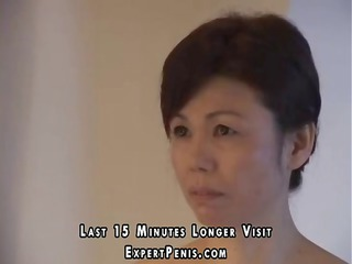japanese mother and son tease around and she