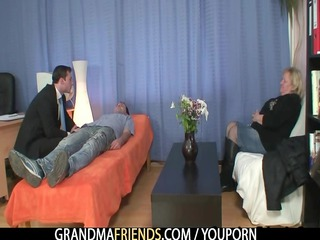 granny gets two dicks at once