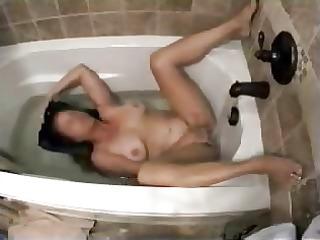 my mum inside shower tube pushing vibrator with