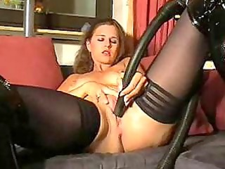 solo lady inside stockings and shoes masturbates