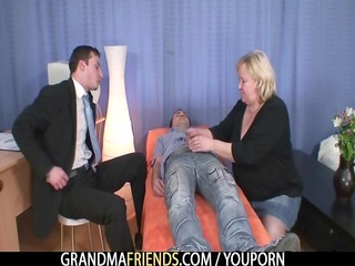 bleached grandma takes slammed by two cocks