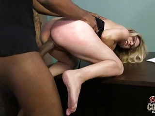 nerd colorless woman goes ebony and gets cum