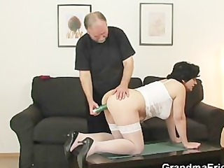 old gets her hairy gap not empty with two libidos