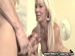 blonde older amp wanks cock
