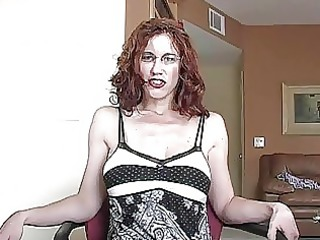 aroused ginger momma with glasses gets her beaver