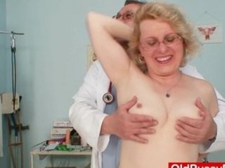 albino woman wears glasses and get milky enema