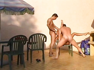 awesome milf twofold banged outdoors by two guys