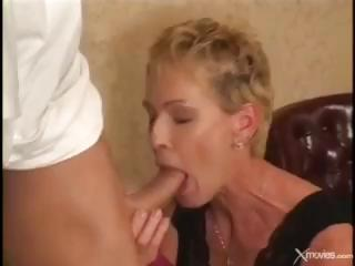 short-haired older blond gets fucked by the