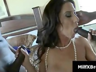 busty brunette milf gives dick sucking into