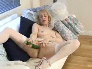 horny granny cucumber vagina penetration