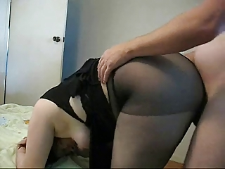 fat woman into stockings copulates doggystyle