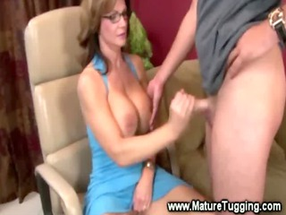 grown-up lady massaging a penis