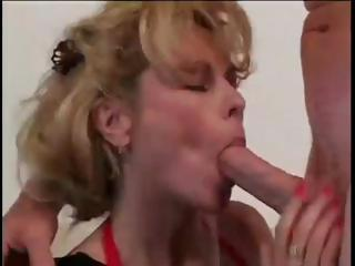blone milf sucks his penis and copulates for a