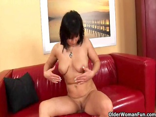 old mommy pleases with her swollen slut