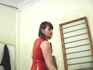 dominatrix ties up her lady and pours extremely
