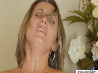 blond lady large white cream facial