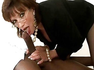 cougar bitch inside glasses and pearls has some