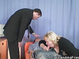 elderly gives twice fellatio and acquires