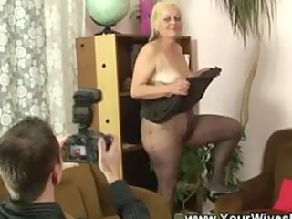 granny cuts a hole inside her pantyhose