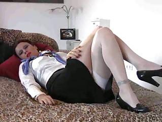 horny milf stewardess footjob banging