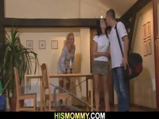 he leaves and his desperate gf and busty mother