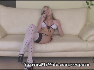 super blonde bombshell stretches kitty