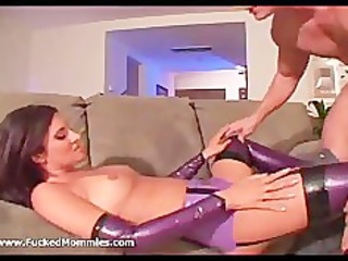brunette chick into latex bikini lick and gang