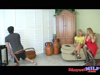 two babe give cable guy handjob