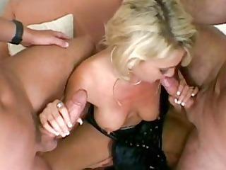 lewd albino girl pleasing two dicks