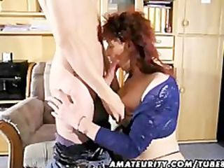 young red-haired milf sucks and bangs a