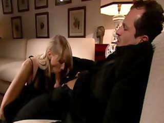 rich slut blonde milf blows his rod, rides on it