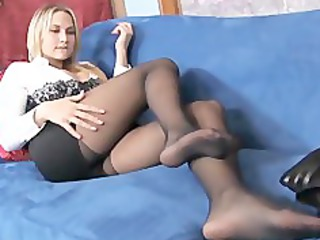 busty blonde mature babe pleases in sweet black