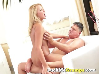 blonde amateur enjoys large elderly dick