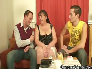 two fuckers drill chubby older whore