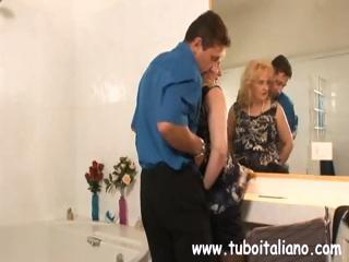 chunky young pale itallian lady blows him and