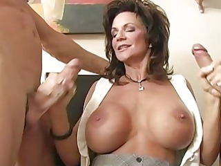 naughty brunette milf gangbanged by two hug