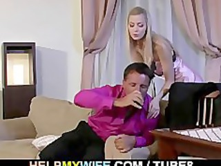 desperate male watches his wife acquiring drilled