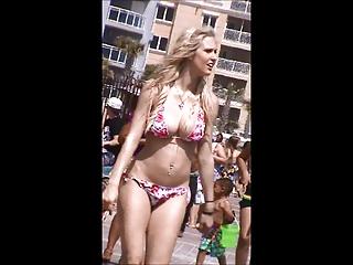 beautiful woman jiggly giant tits walking on